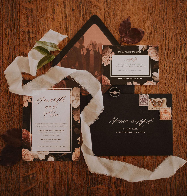 black floral wedding invitation
