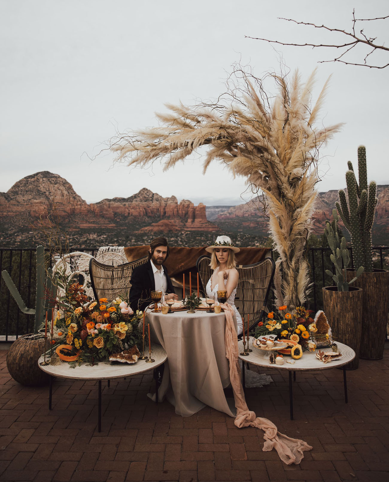 Smoky Citrine Crystals in this Sedona Wedding Inspiration