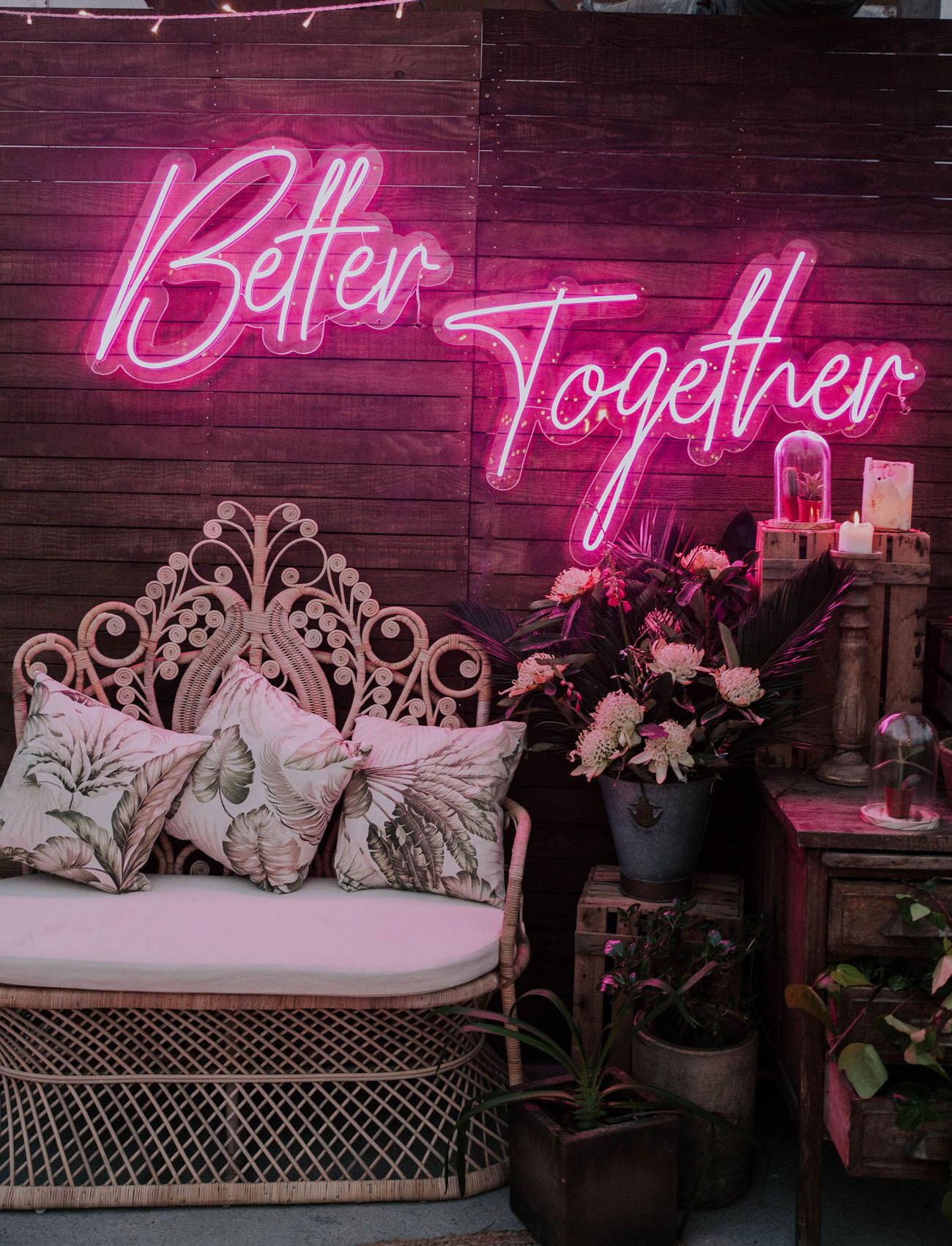 Wedding Lounge area with neon wedding sign