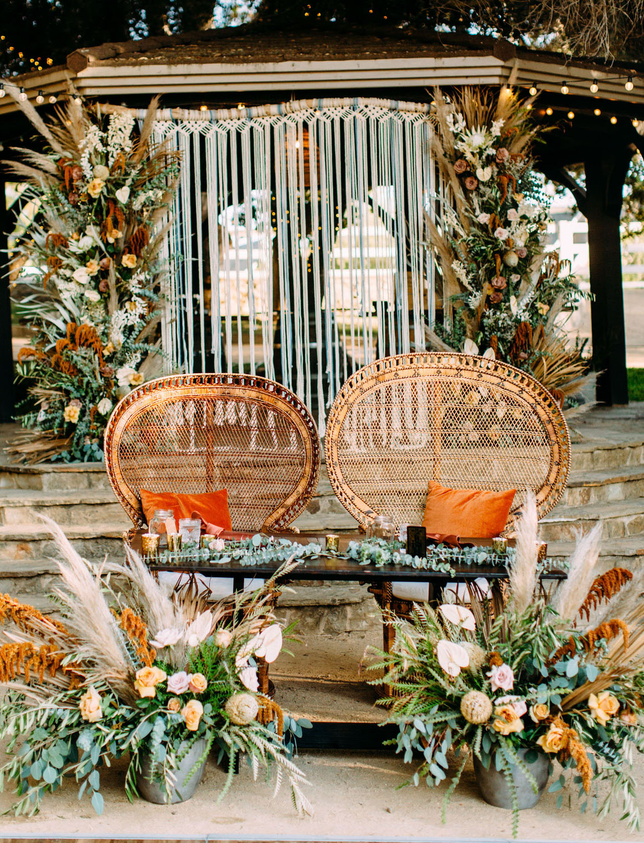 macrame peacock chair backdrop