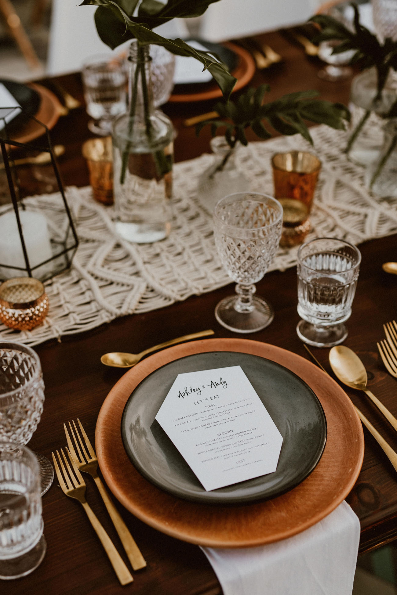 Masculine Wedding place setting and tablescape