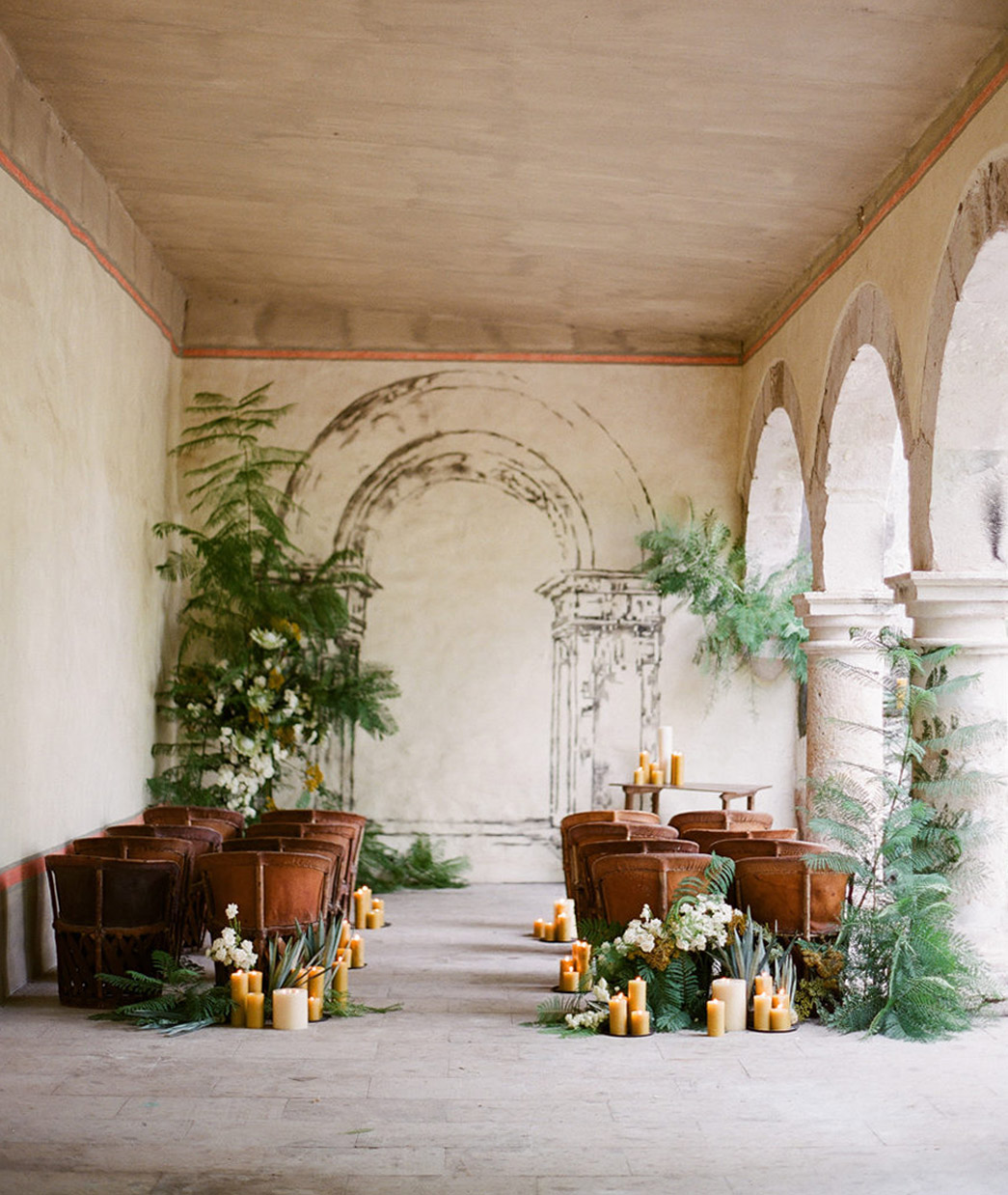 masculine wedding details for a ceremony space