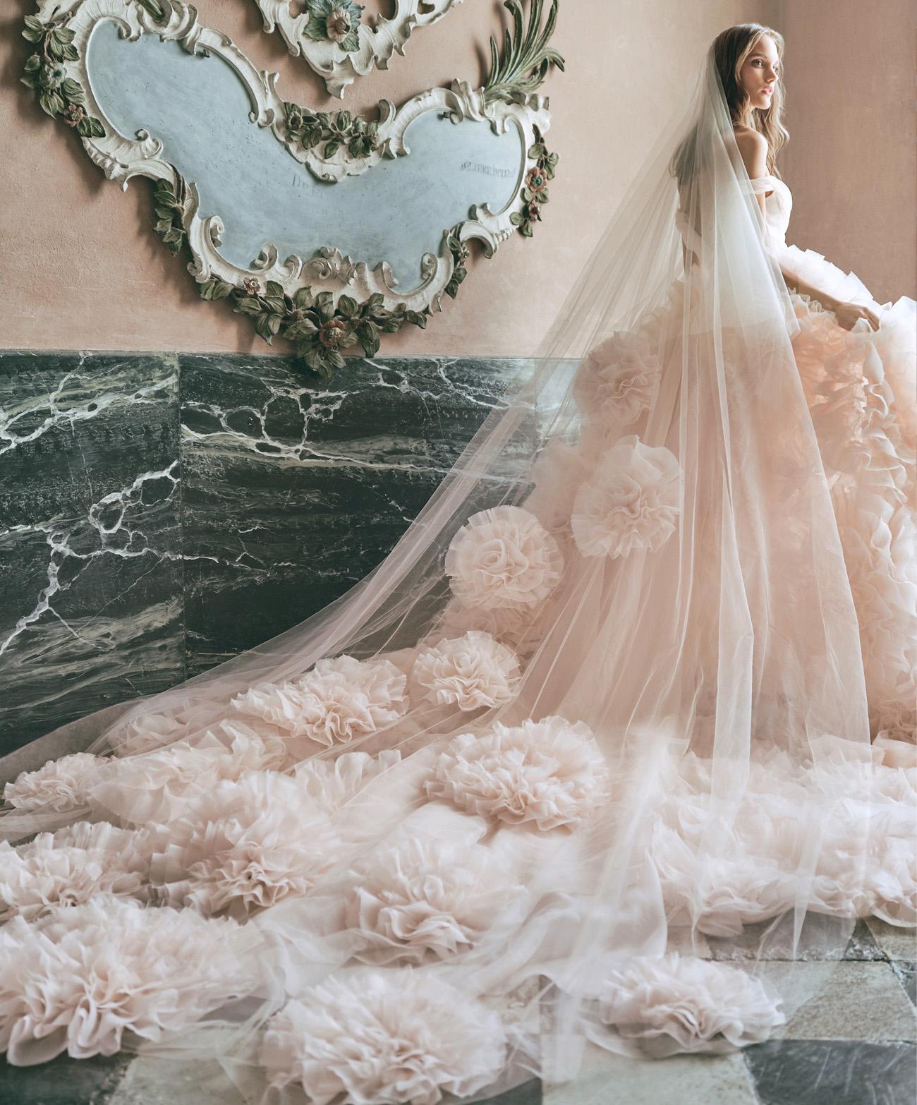 Monique Lhuillier Blush Wedding Gown