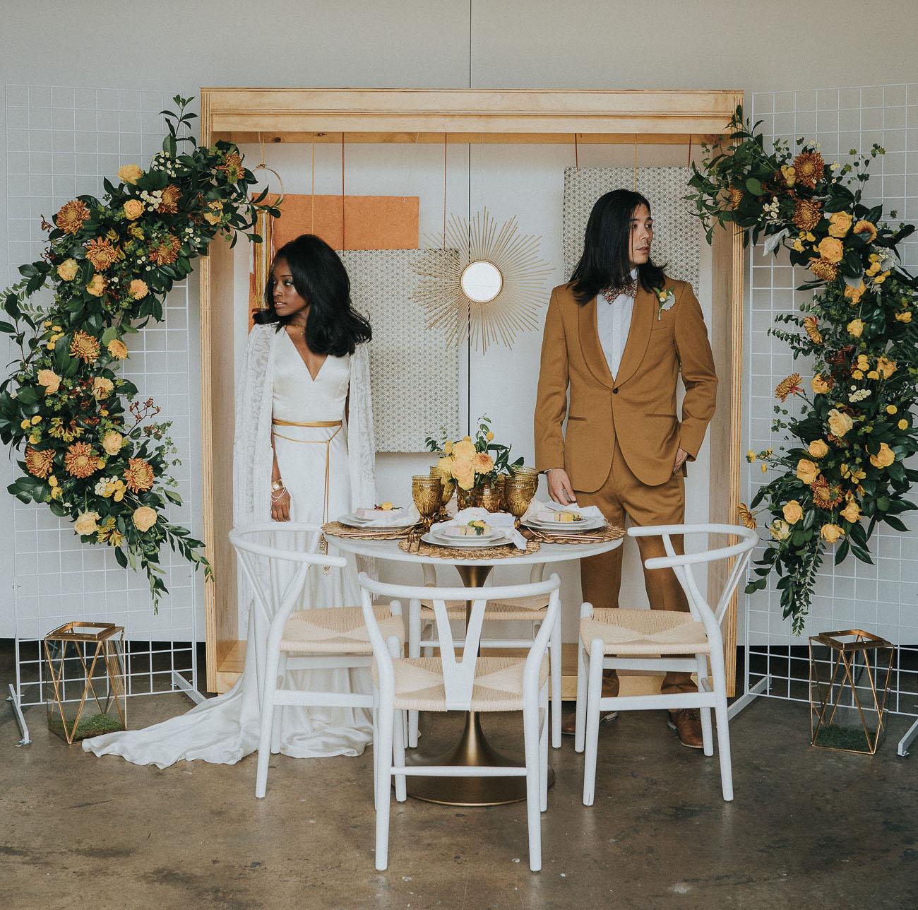 Monochrome 70s Wedding Inspiration