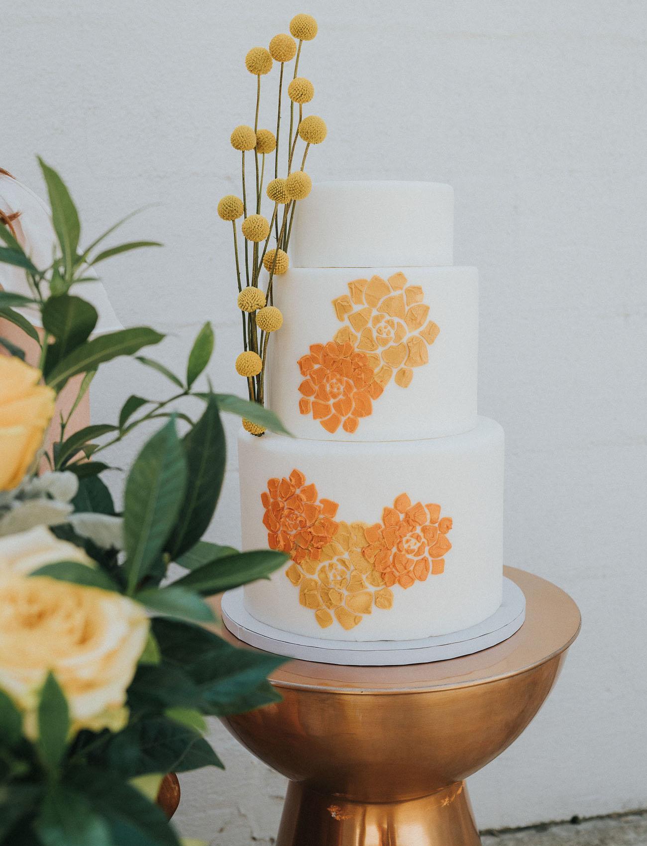 orange wedding cake flowers