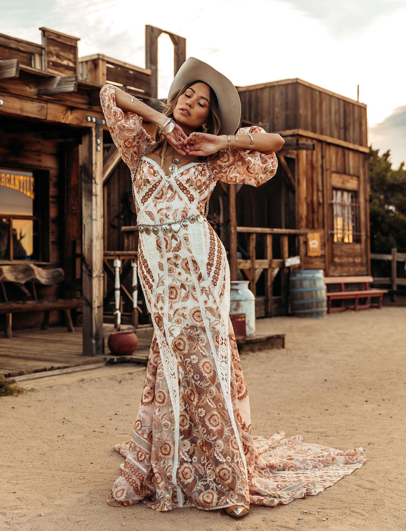 western inspired Embroidered wedding dress by Rue de Seine