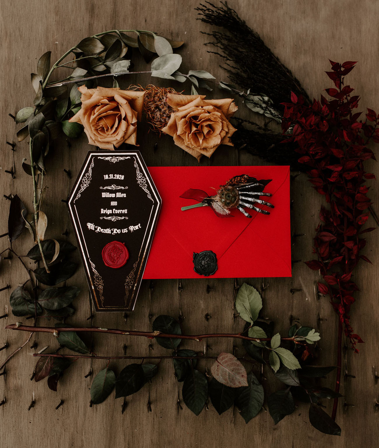 coffin wedding invitation