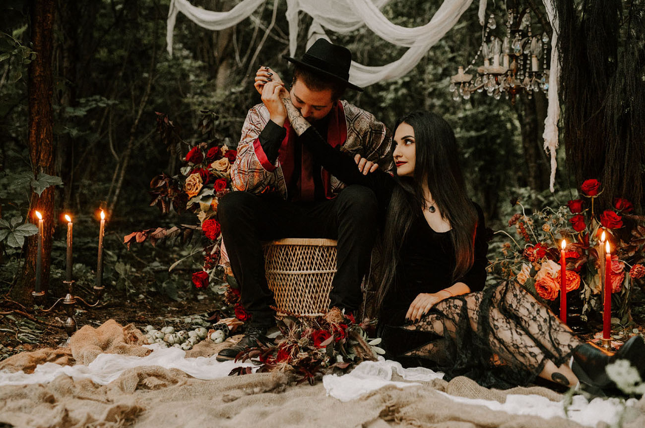 Halloween Morticia + Gomez Wedding Inspiration