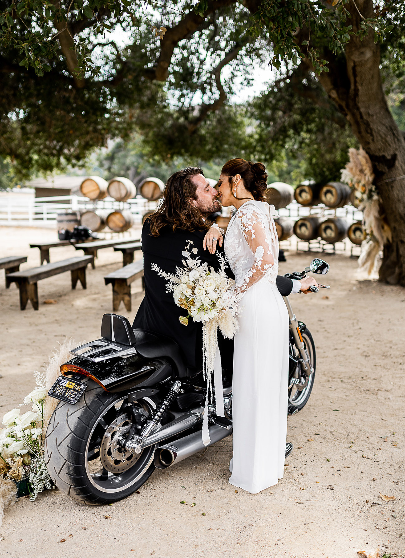 moto wedding bride in jumpsuit