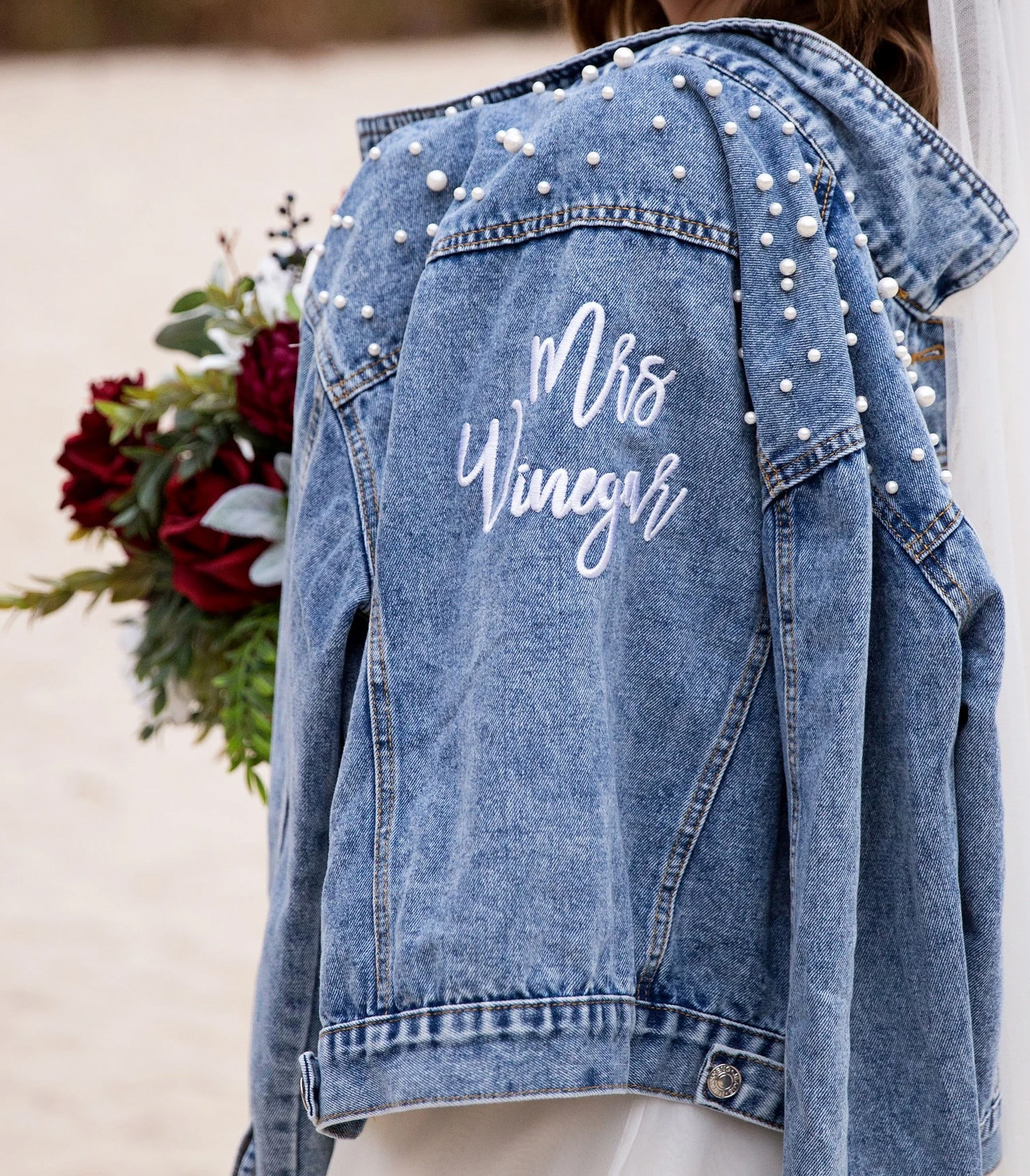 pearl denim jacket for the bride