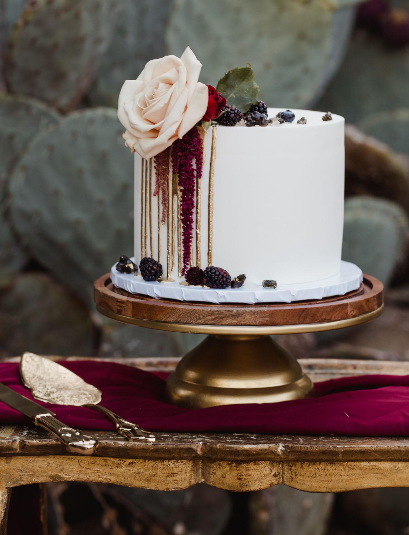 white drip wedding cake
