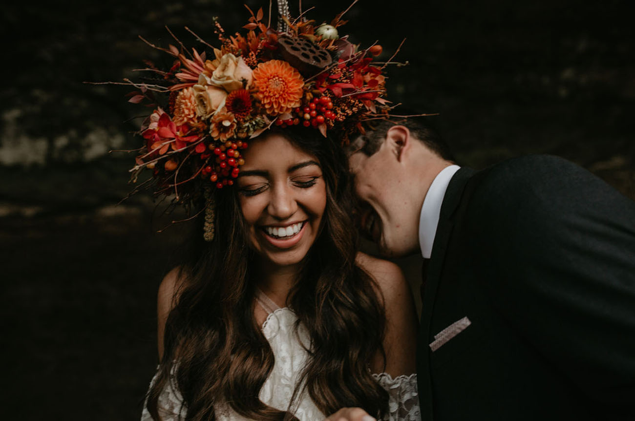 orange and red flower crown