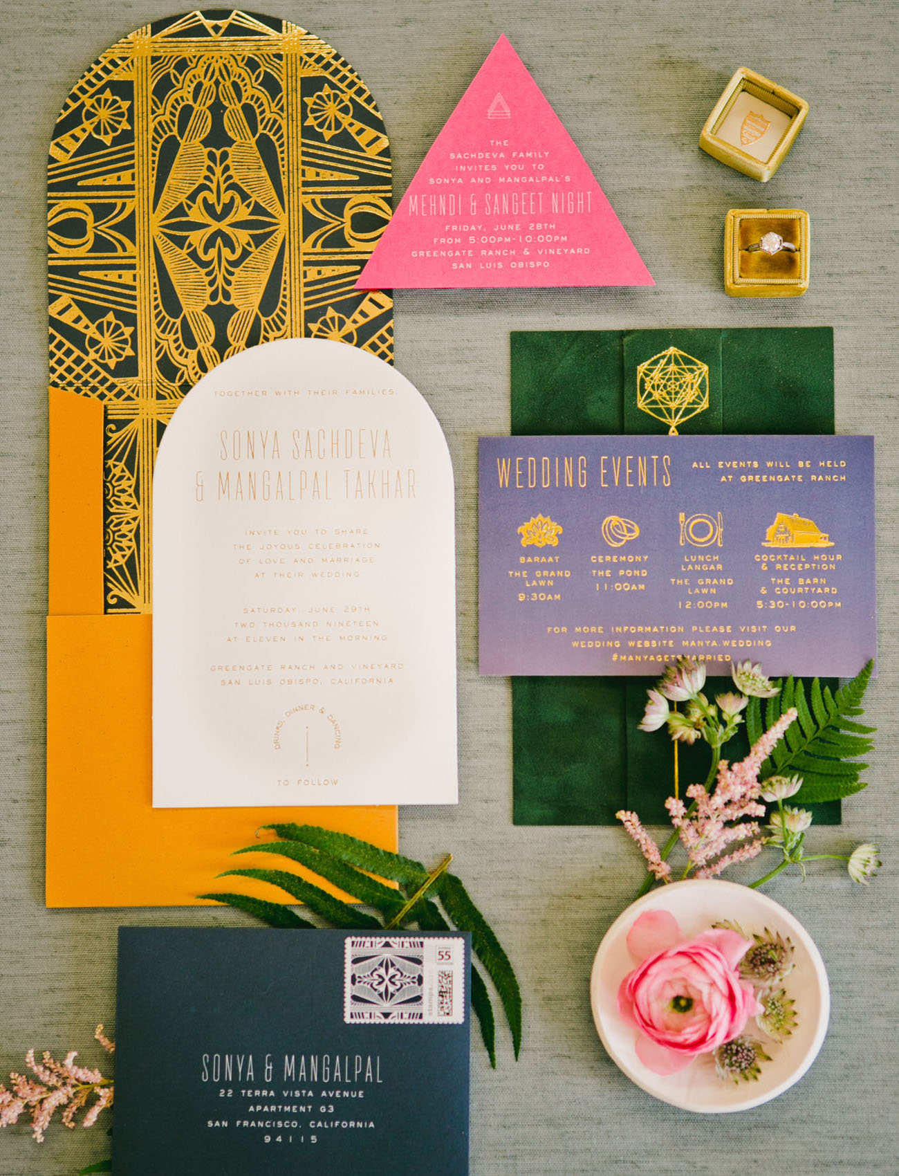 gold invitation suite