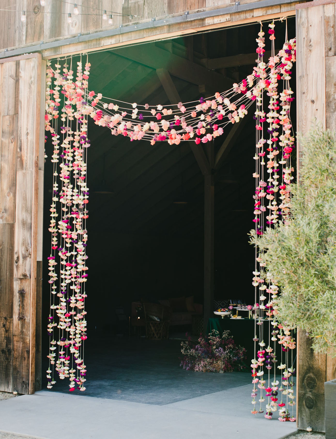 hanging floral curtain