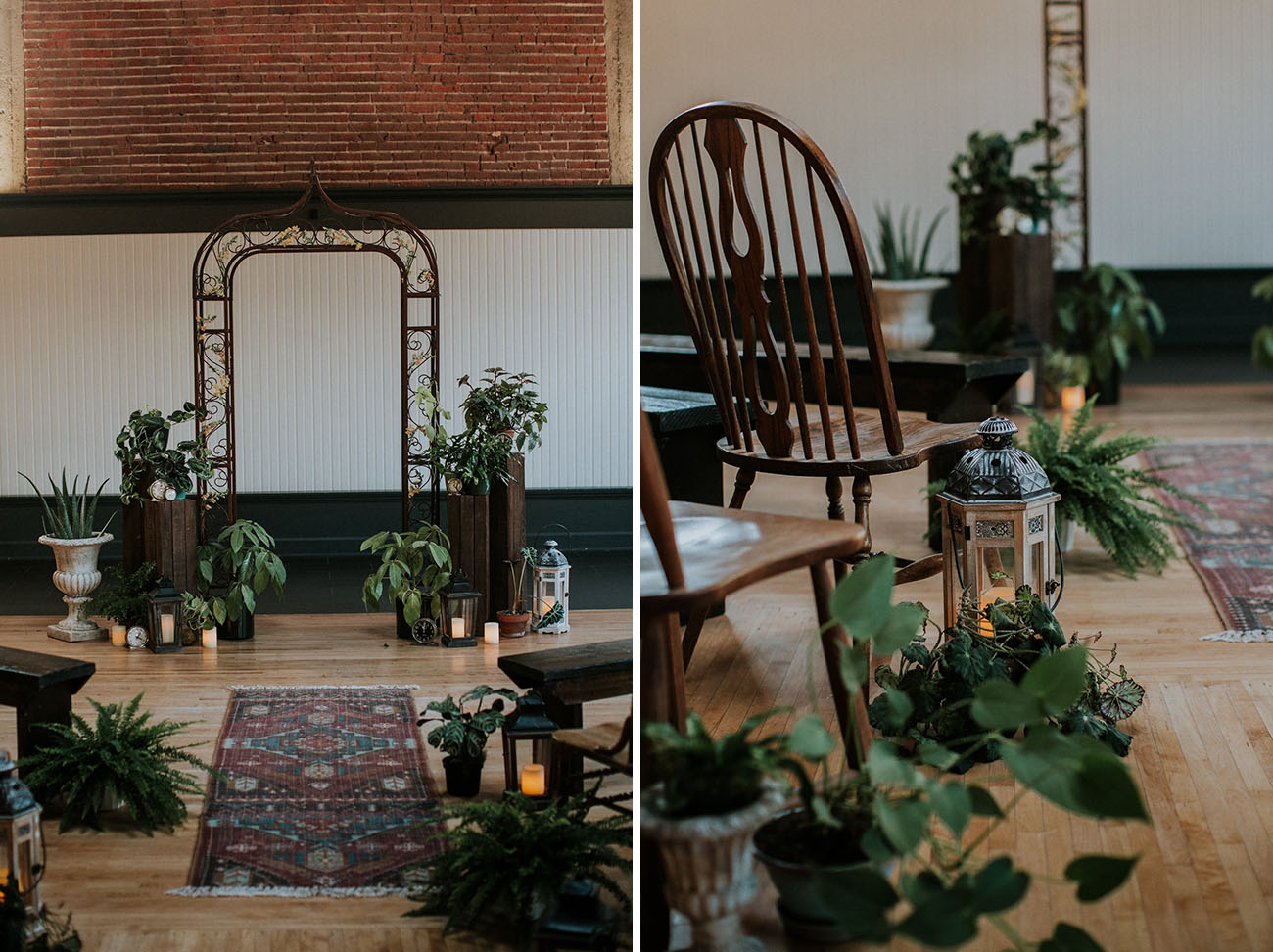 Moody masculine ceremony decor with dark wood and plants