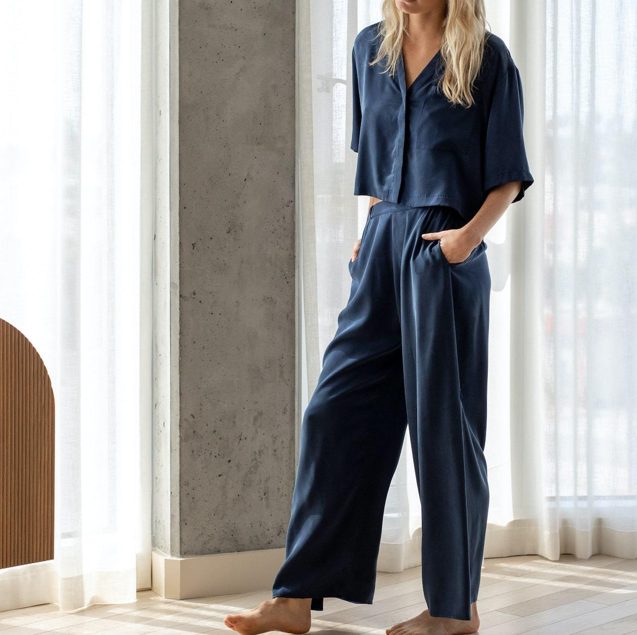 Lunya: Washable Silk Button Down Pant Set
