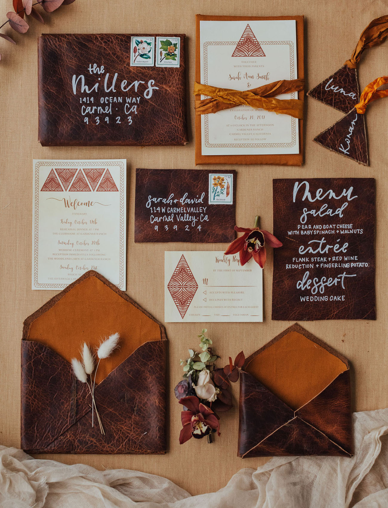 leather wedding invitation