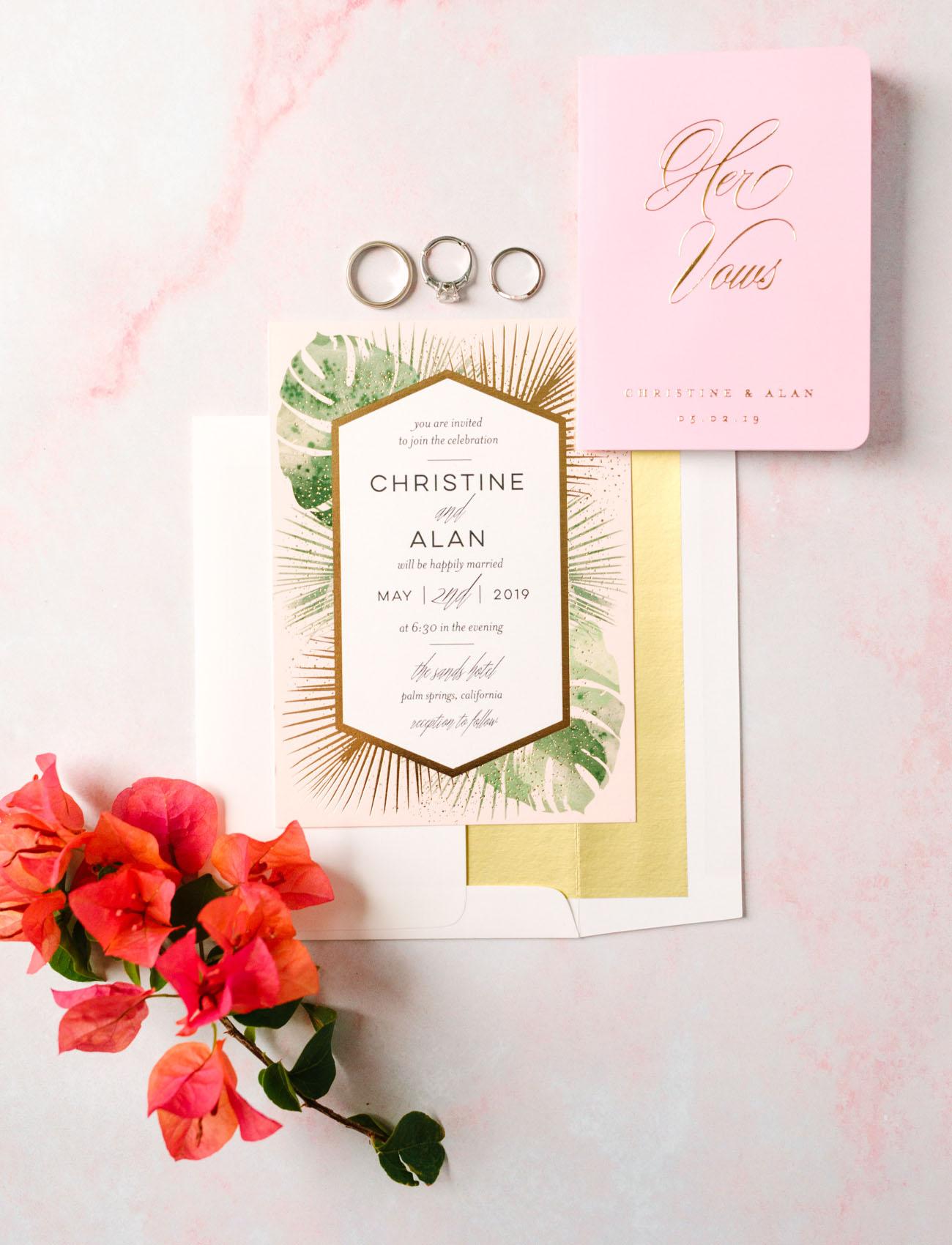 palm wedding invitation