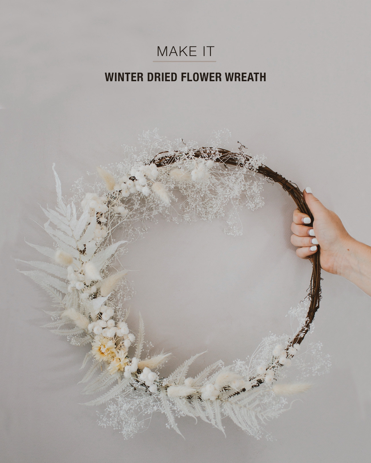 Winter Wreath with Dried Florals DIY