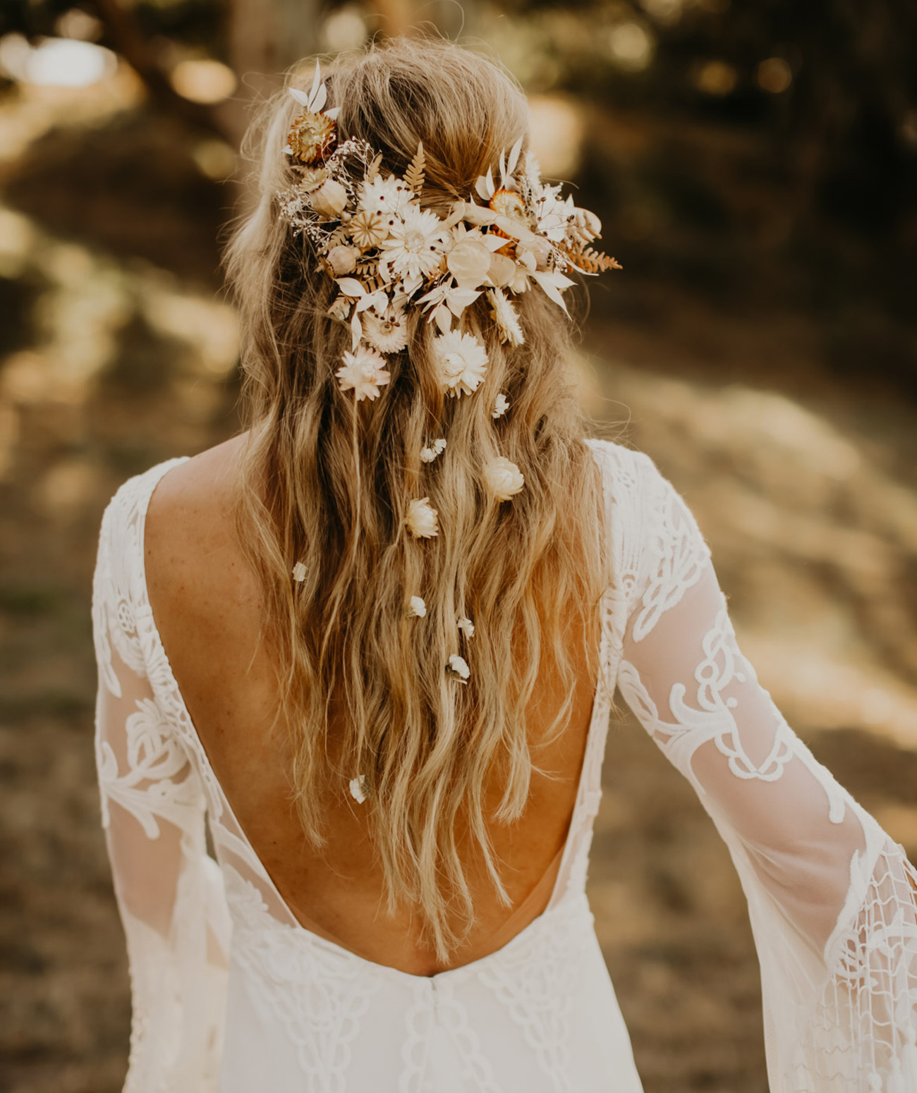 Dried flowers boho hairstyle