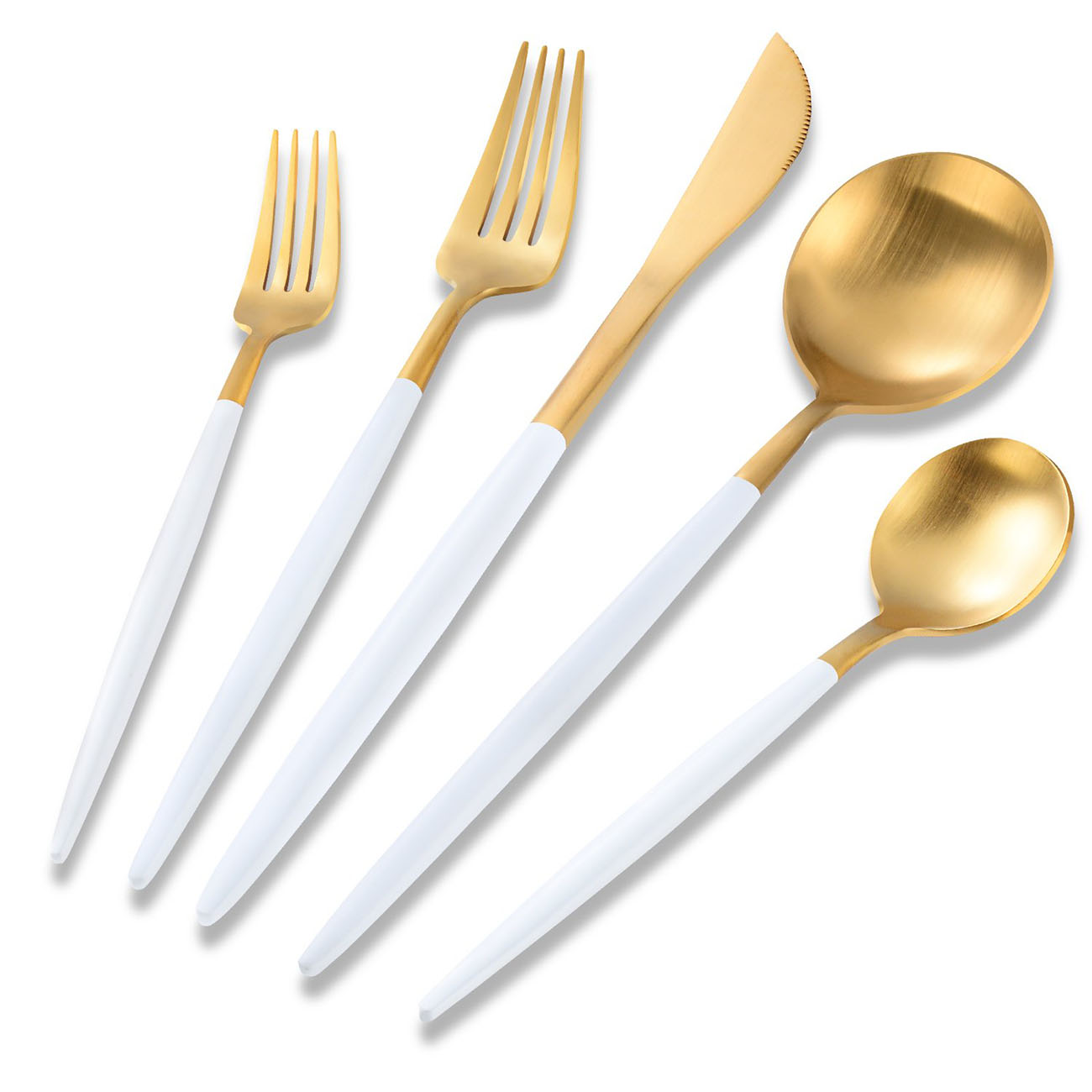 Flatwar Silverware Set White and Matte Gold