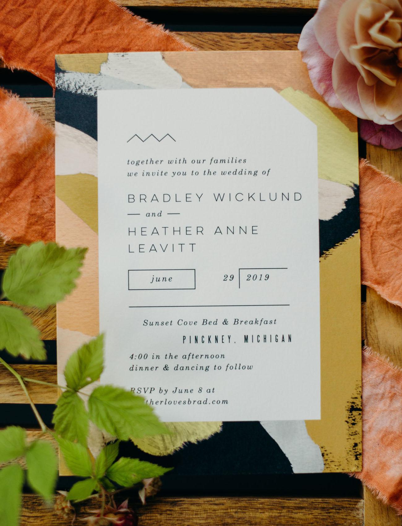 artsy wedding invitation