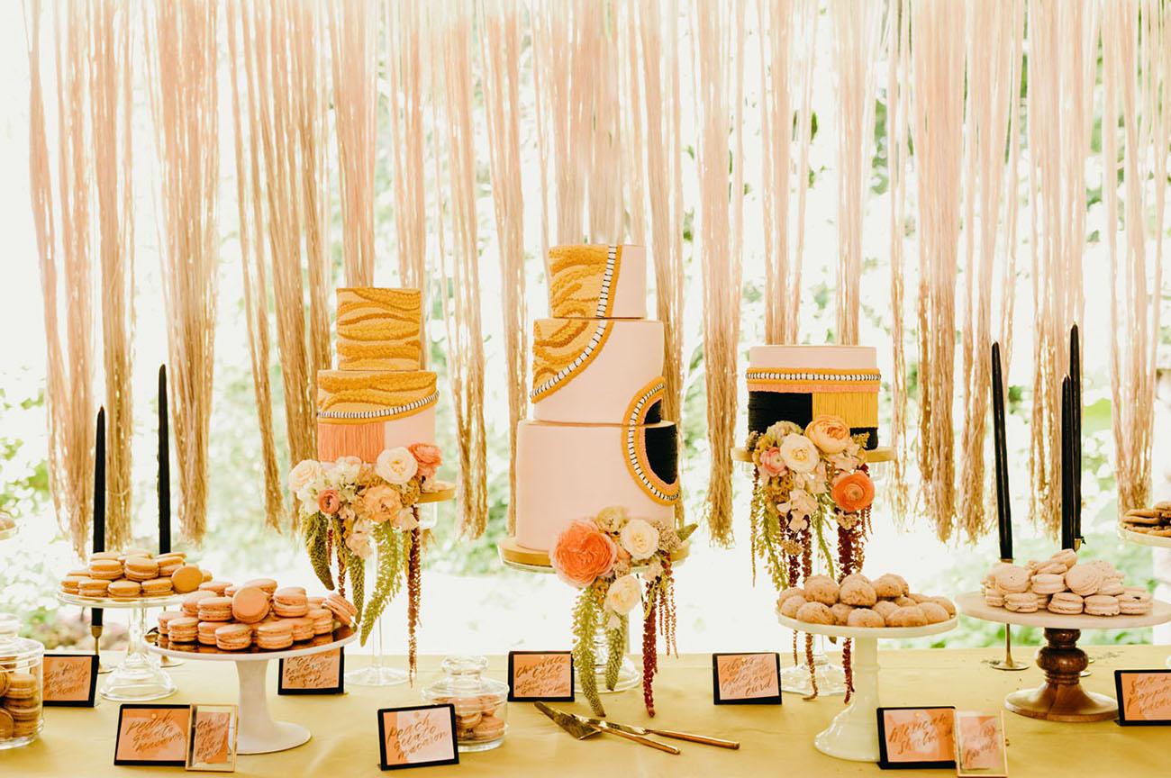 pink modern wedding cakes