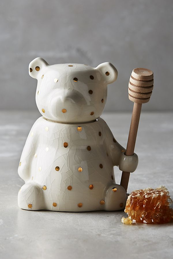 polka dot bear honey pot