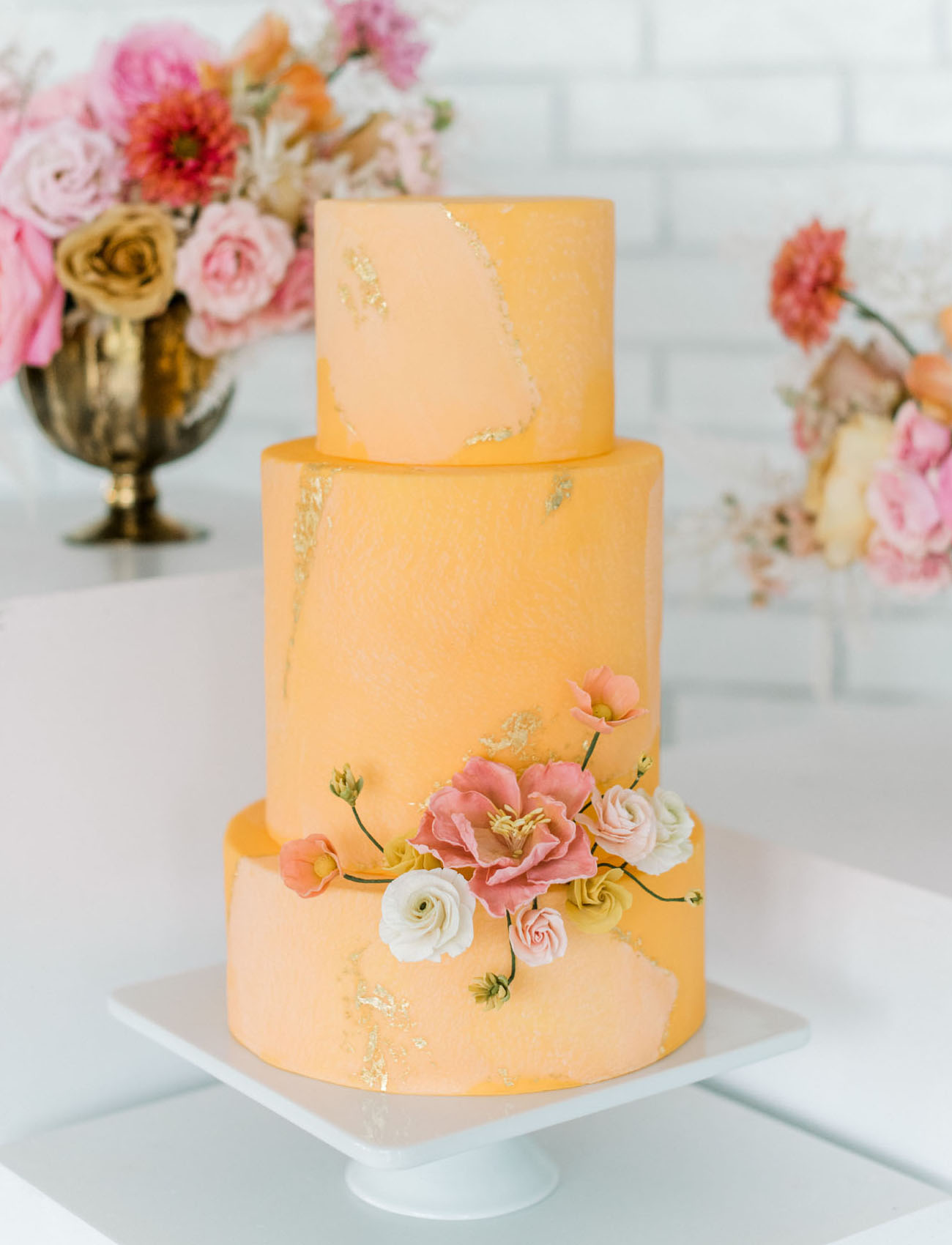 orange wedding cake
