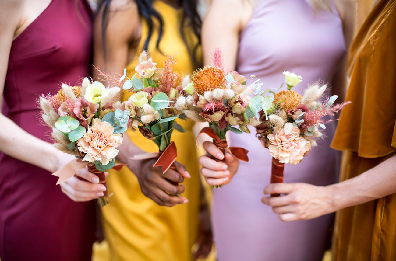 mini bridesmaids bouquets