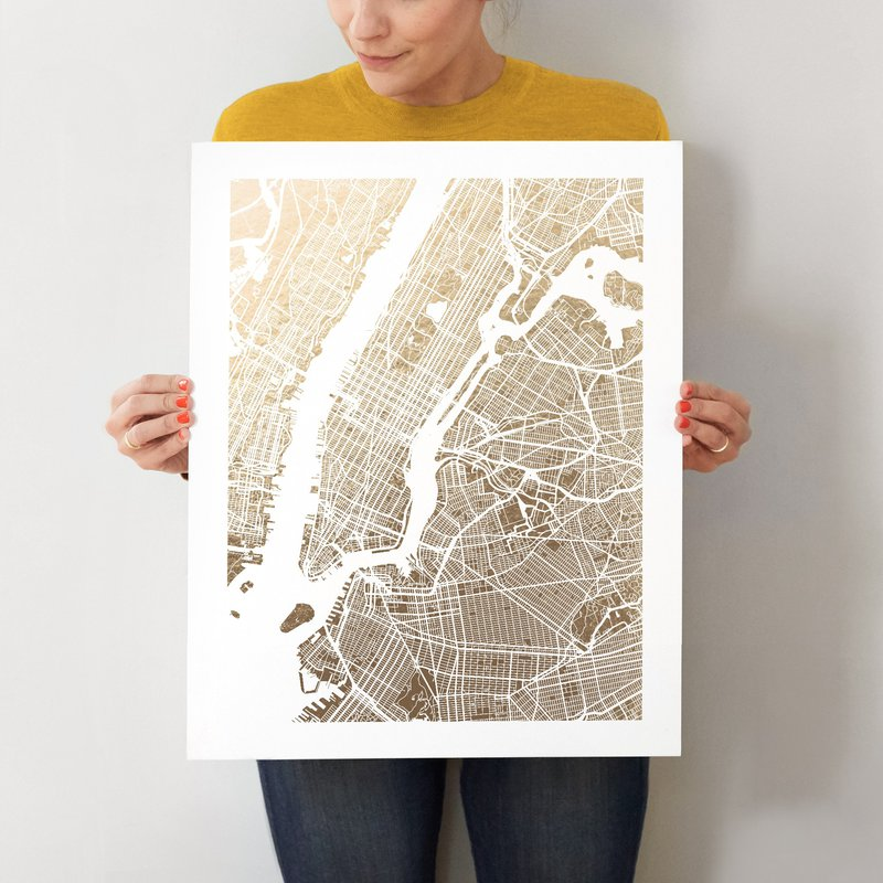 gold foil new york city map print
