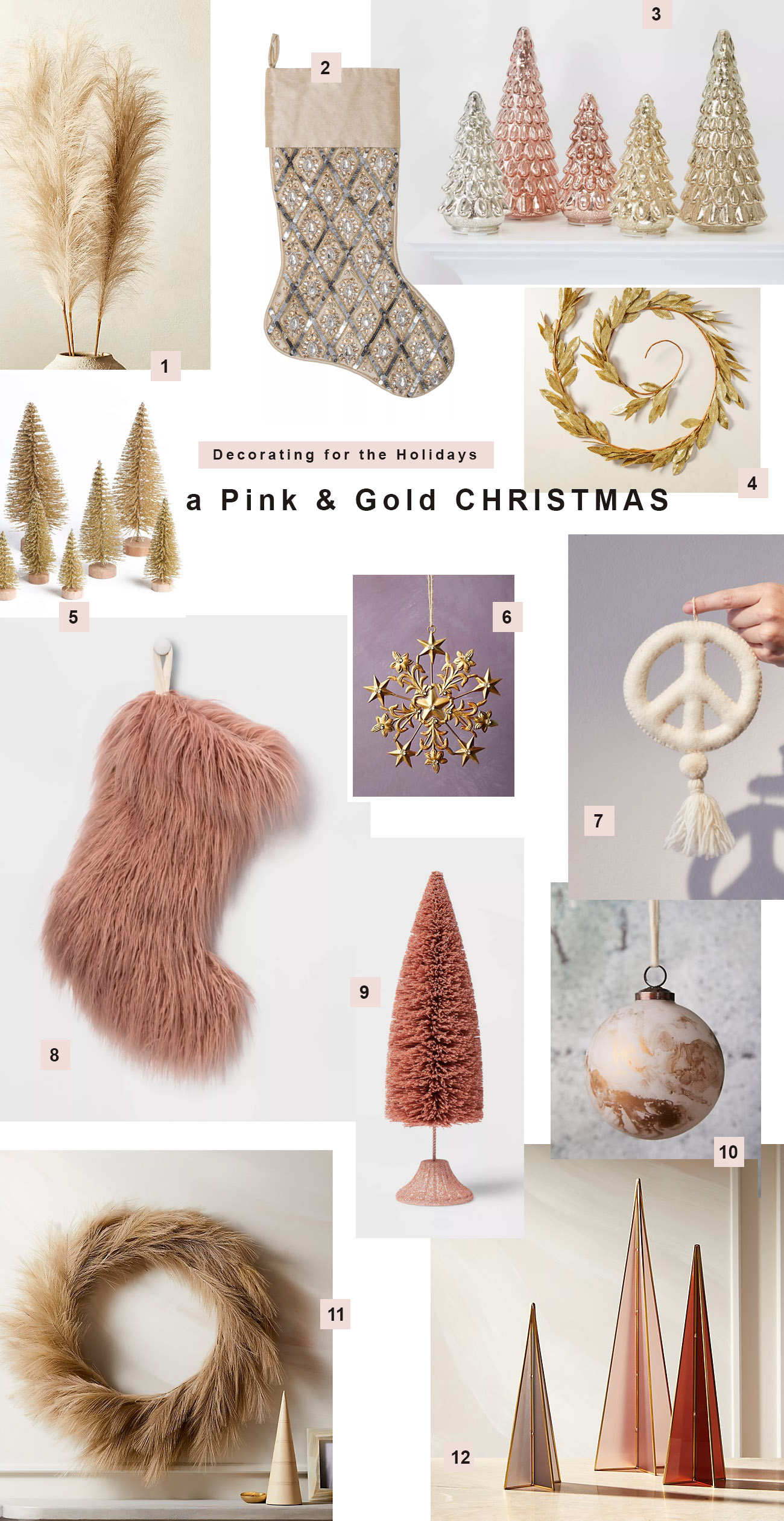 Decoring for Christmas in Pink and Gold