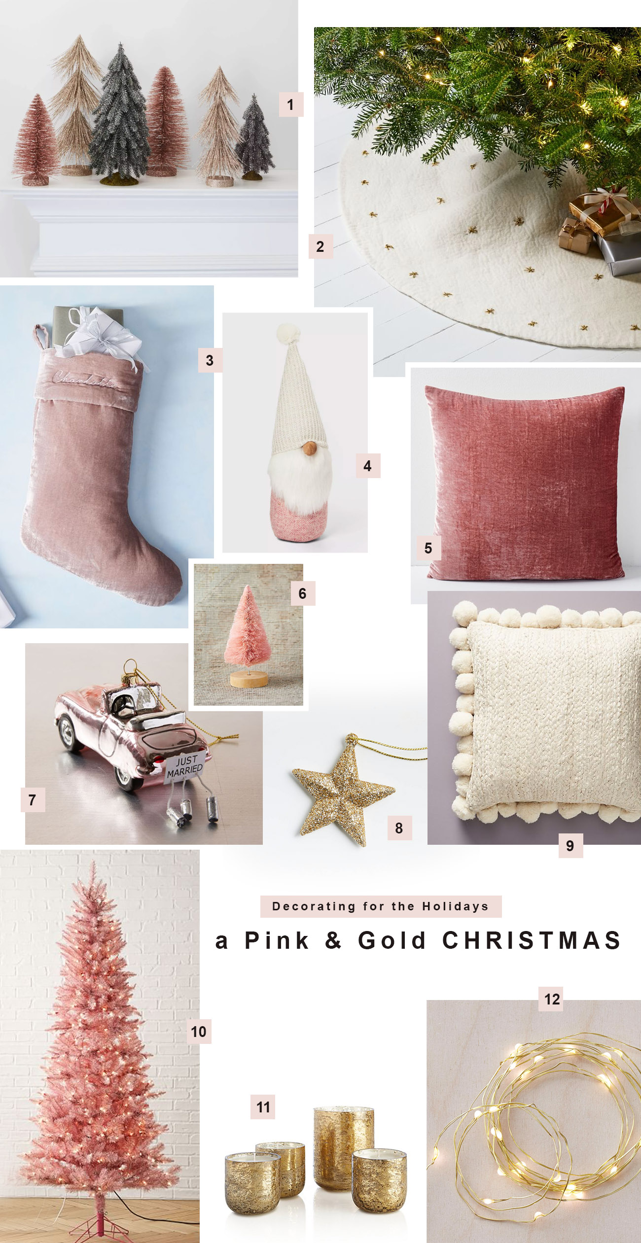 Decorating for Christmas in pink and gold