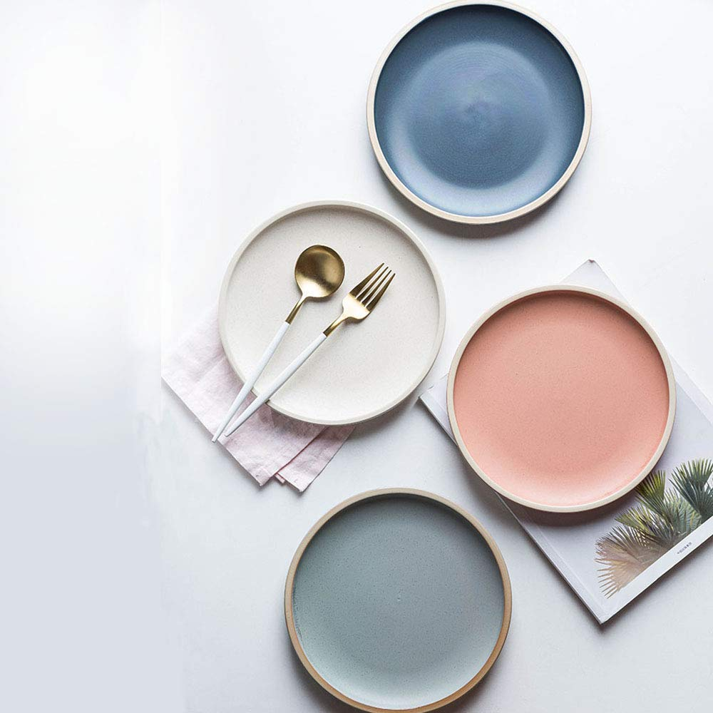 porcelain dinner plates in 4 soft colors