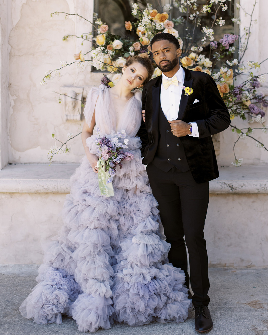 purple tulle wedding dress by Millia London