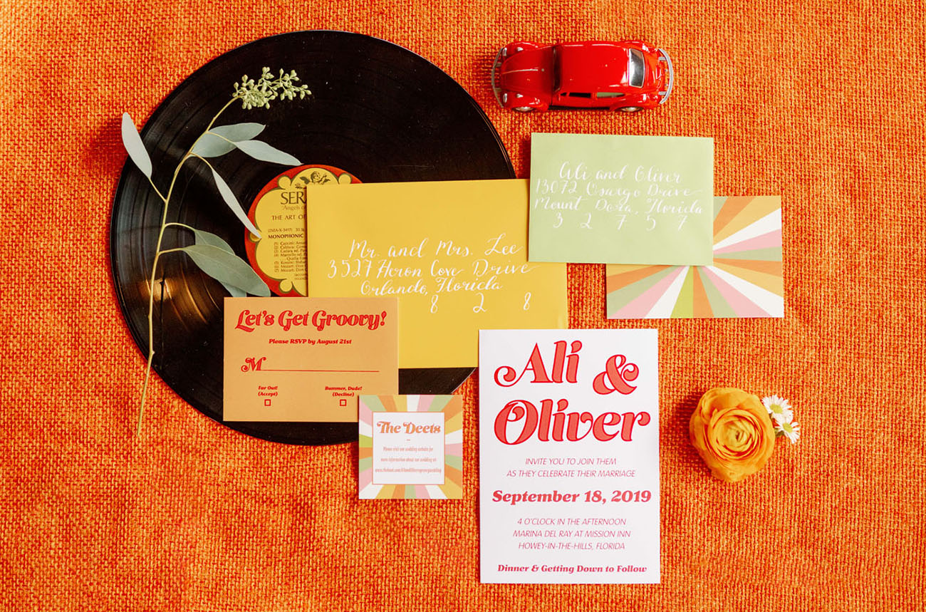 retro inspired invitation
