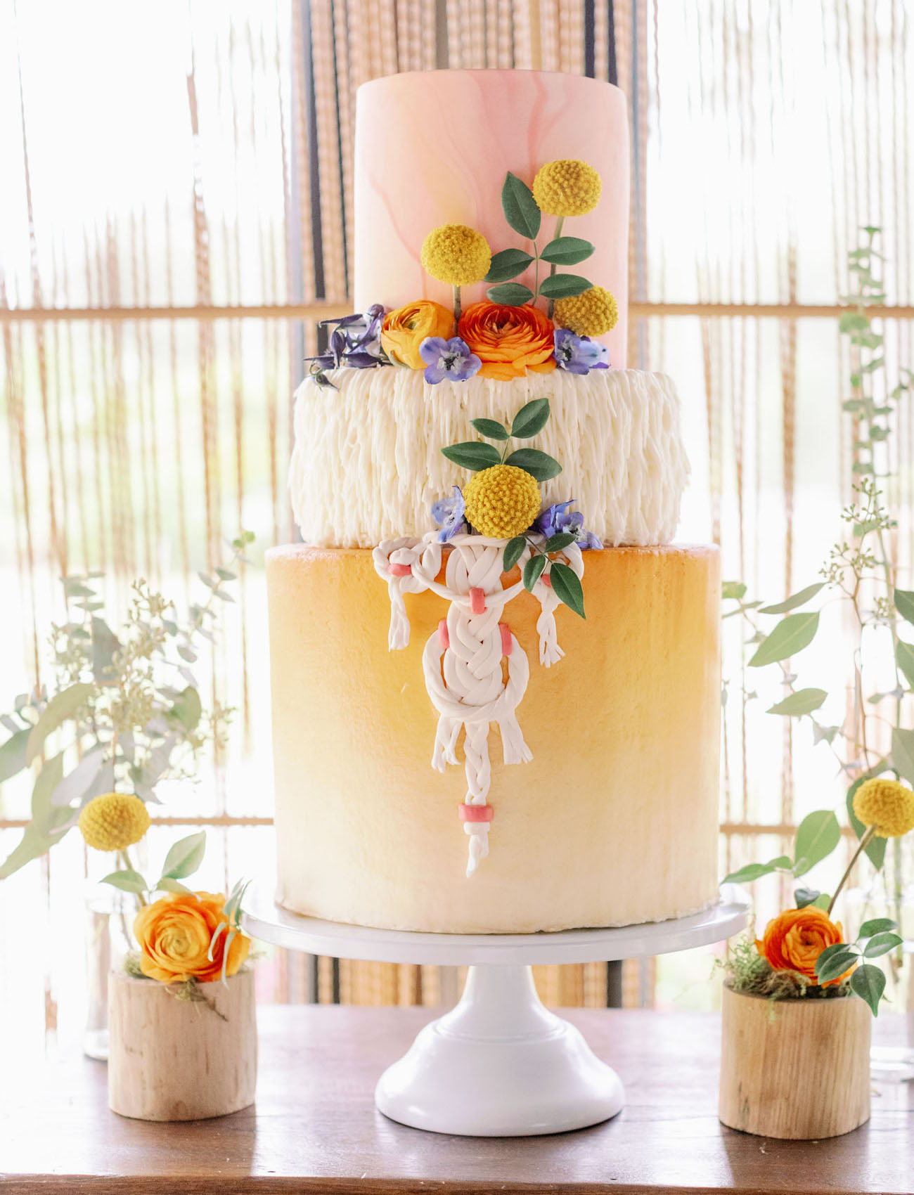 retro macrame wedding cake