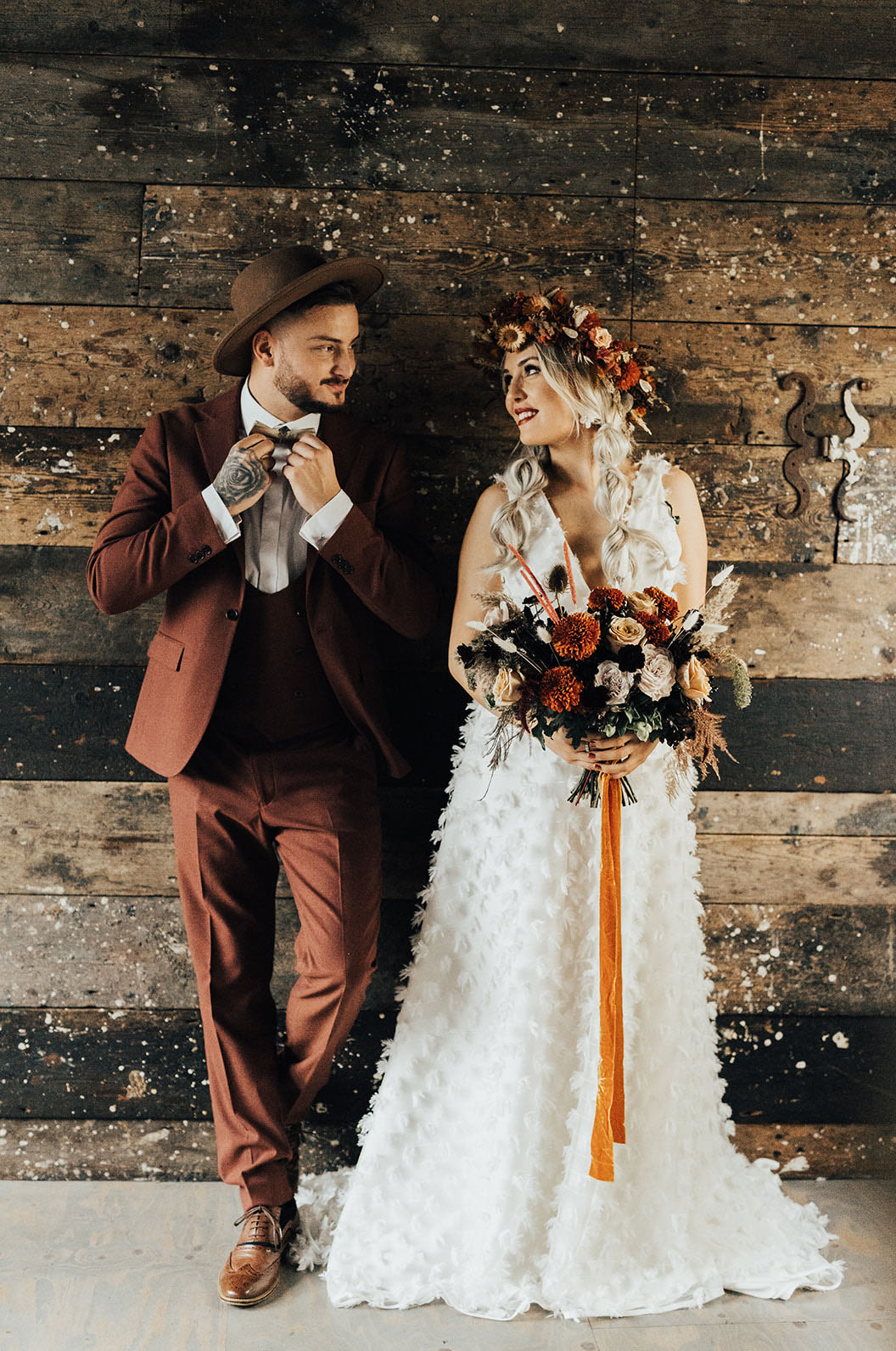 Rust Romance in this Industrial Fall Wedding Inspiration