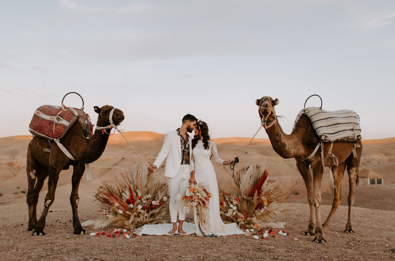 The Magic of Morocco: A Neutral Boho Elopement with Camels