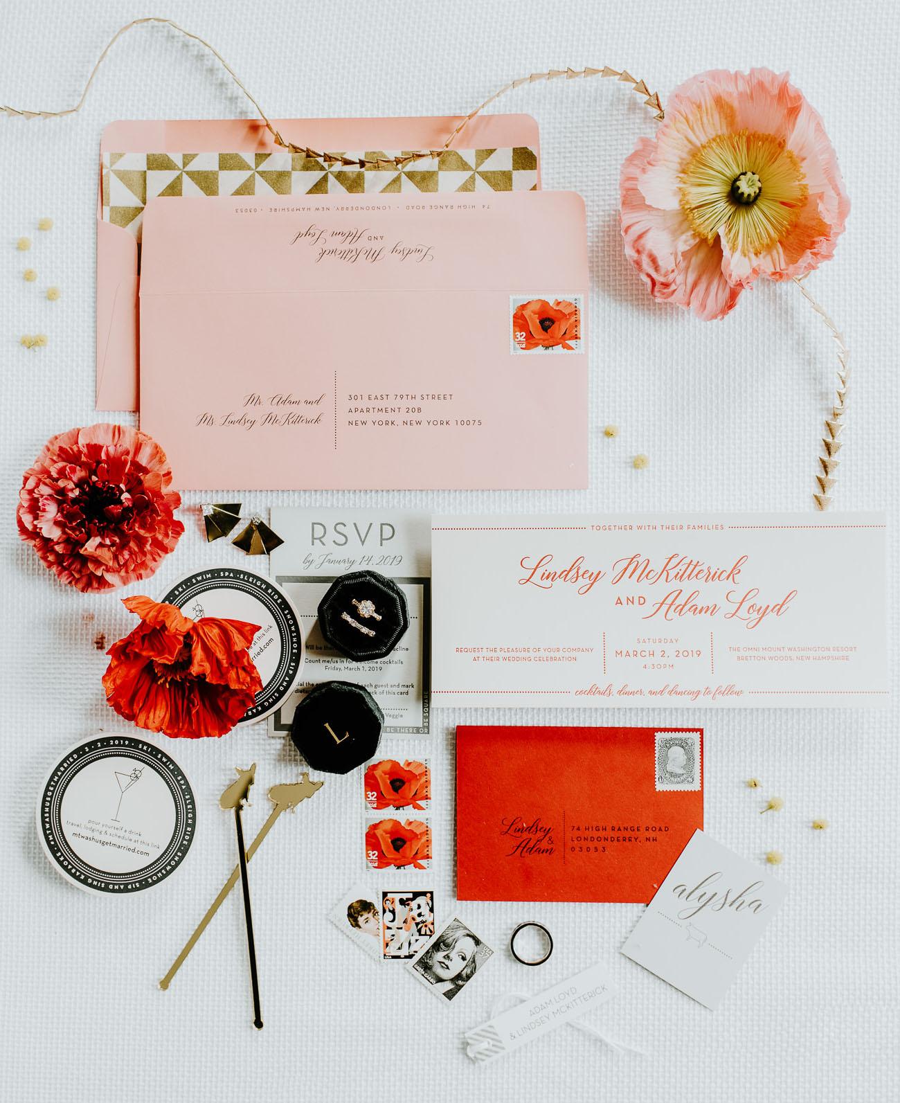 modern pink wedding invitation