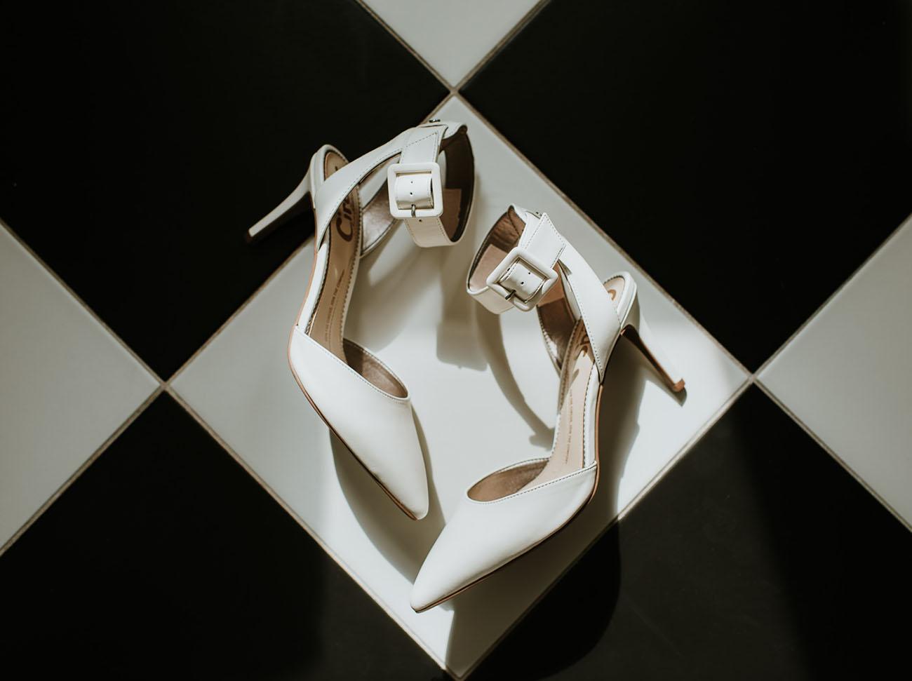 white strap bridal heels