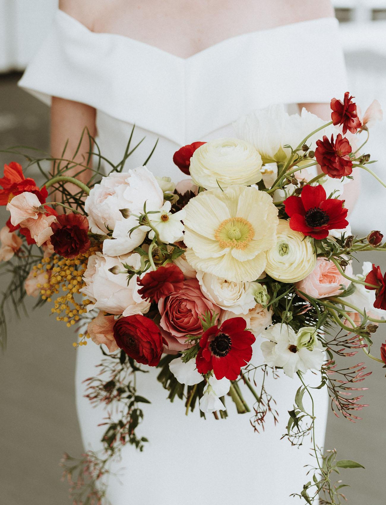 red winter poppy bouquet