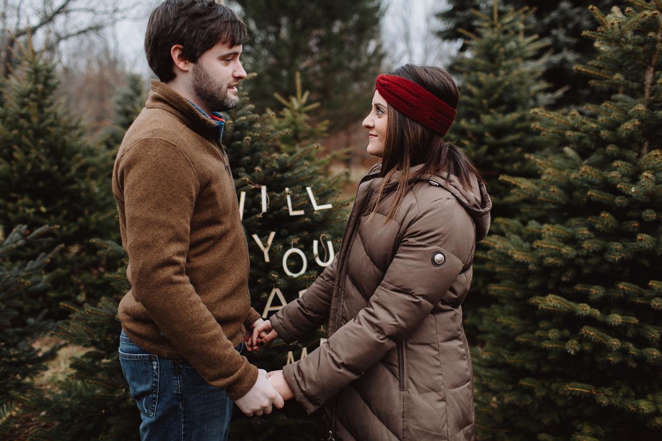 Proposal at a Christmas tree farm