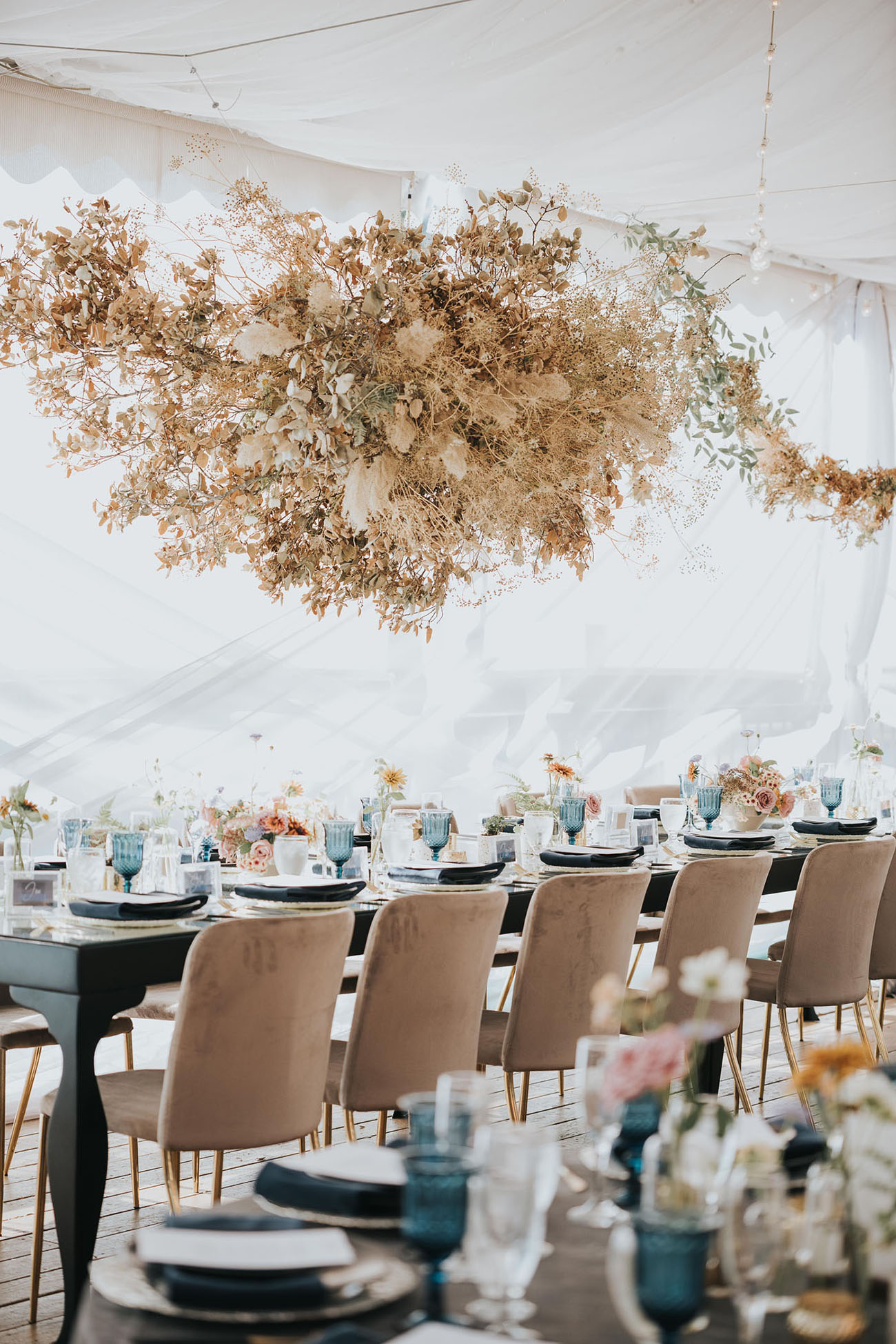 Dried Florals Hanging from Tent Ceiling