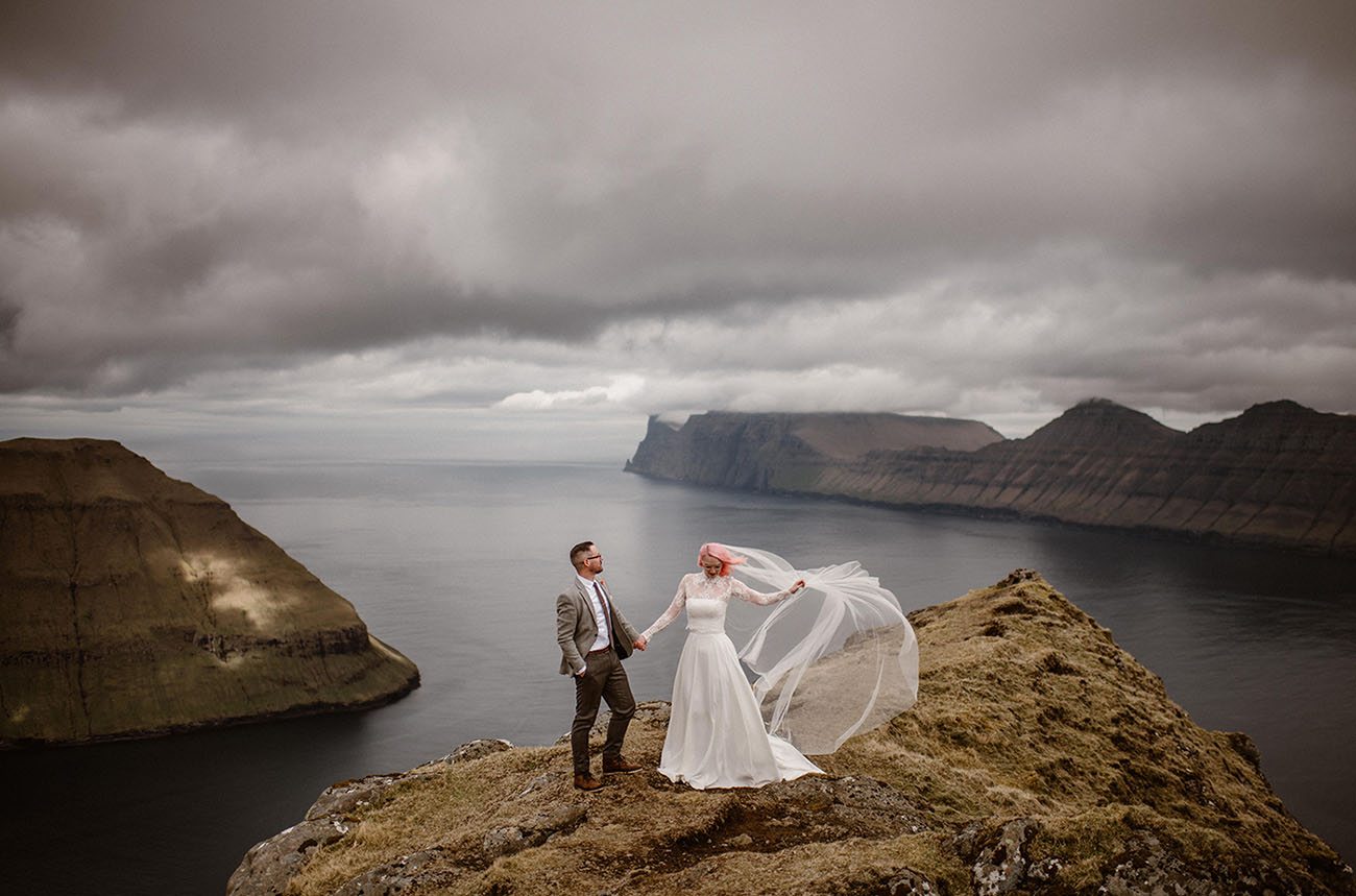 Perfectly Pink Hair Tops This Adventurous Elopement in the Faroe Islands