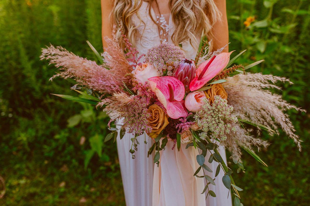 pink boho tropical bouquet