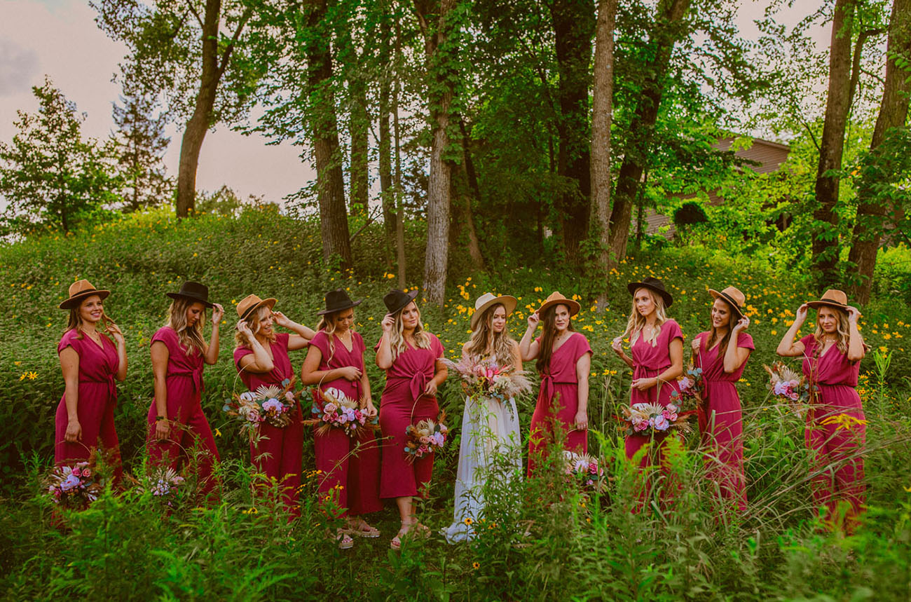 bridesmaids wearing hats