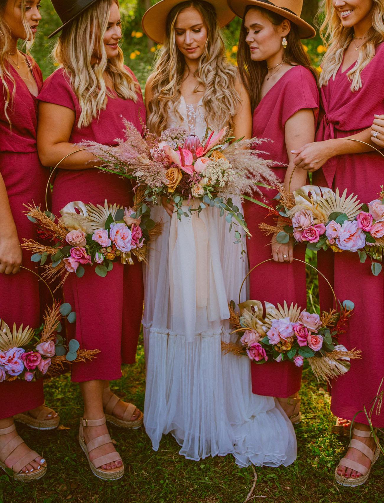 boho hoop bouquets