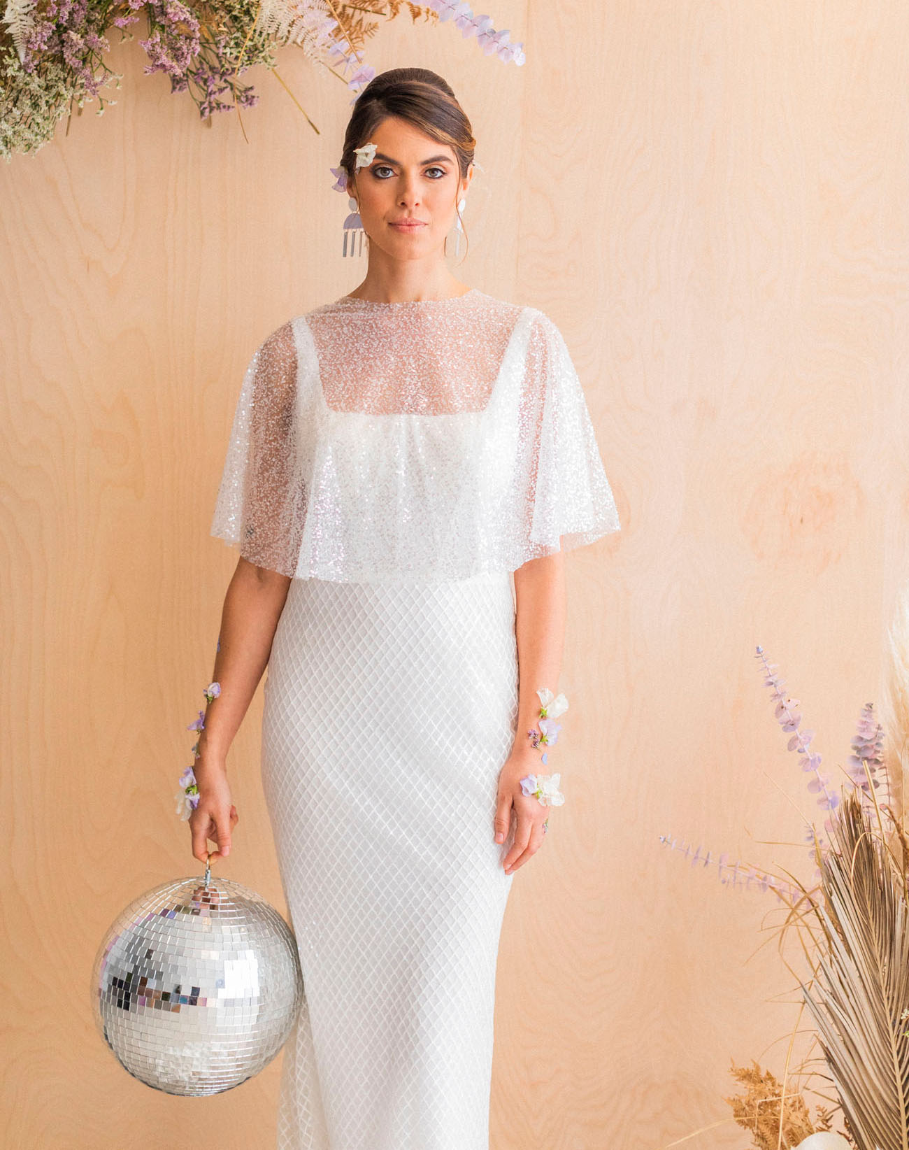 white sequin bridal capelet
