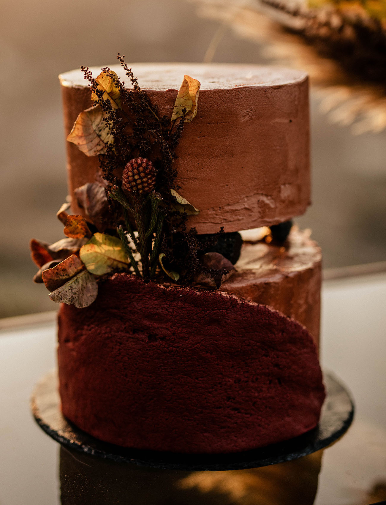 rust colored wedding cake